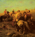 Screyer Adolf Arabian Horsemen Near A Watering Place