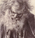 Menzel Adolf Friedrich Erdmann Portrait Of An Old Man