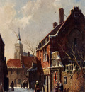 Eversen Adrianus Figures In The Streets Of A Dutch Town In Winter