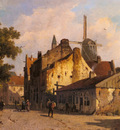 Eversen Adrianus Village Scene With A Windmill