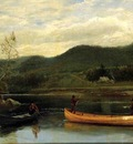 Bierstadt Albert Men in Two Canoes