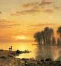 Bierstadt Albert Sunset Deer and River