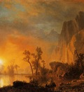 Bierstadt Albert Sunset in the Rockies