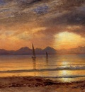 Bierstadt Albert Sunset over a Mountain Lake
