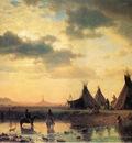 Bierstadt Albert View of Chimney Rock Ogalillalh Sioux Village in Foreground