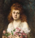 Harlamoff Alexej Auburn haired Beauty with Bouquet of Roses