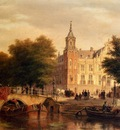 Hove Bartholomeus Johannes Van A Sunlit Townview With Figures Gathered On A Square Along A Canal