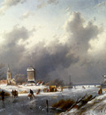 Leickert Charles Henri Joseph A Frozen Winter Landscape With Skaters