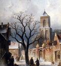 Leickert Charles Henri Joseph A Village Snow Scene