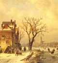 Leickert Charles Skaters In A Frozen Winter Landscape