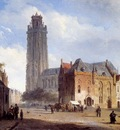 Springer Cornelis A Cathedral On A Townsquare In Summer