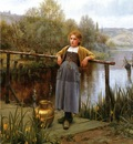 Knight Daniel Ridgway Young Girl by a Stream