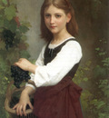Bouguereau Elizabeth Jane Gardner Young Girl Holding a Basket of Grapes