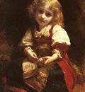 Piot Adolphe A Little Girl Holding A Bird