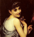 Piot Adolphe A Young Beauty Holding A Red Rose