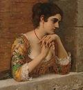 Blaas Eugen von venetian beauty on balcony