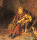 Schlesinger Felix Two Children Playing With Rabbits