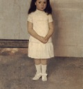A Portrait of a Standing Girl in White