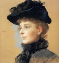 Duveneck Frank Portrait of a Woman with Black Hat