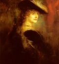 Lenbach Franz Von Portrait Of An Elegant Lady In Rubenesque Costume