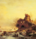 Kruseman Frederik Marianus Winter Landscape With Skaters On A Frozen River Beside Castle Ruins