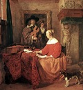 METSU Gabriel A Woman Seated At A Table And A Man Tuning A Violin