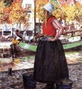 Hitchcock George Woman Along Canal aka A Young Dutch Girl