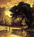 Inness George Fisherman in a Stream