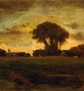 Inness George Sunset on a Meadow