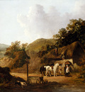 Morland George Taking Refreshments Outside A Village Inn
