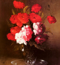 Ribot Germain Theodore Pink Peonies And Poppies In A Glass Vase