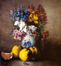 Ribot Germaine Theodore A Still Life With A Vase Of Flowers And Fruit