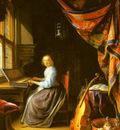 Dou Gerrit A Woman Playing A Clavichord