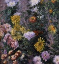 Caillebotte Gustave White and Yellow Chrysanthemums Garden at Petit Gennevilliers