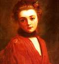 Jacquet Gustave Jean Portrait Of A Girl In A Red Dress