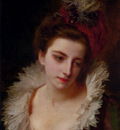 Jacquet Gustave Jean Portrait Of A Lady With A Feathered Hat