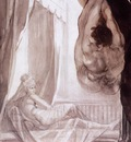 FUSELI John Henry Brunhilde Observing Gunther Whom She Has Tied To The Ceiling