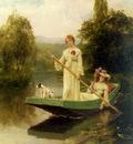 King Henry John Yeend Two Ladies Punting On The River