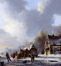 Stol Jacobus Van Der Skaters On A Frozen River Near A koek En Zopie