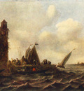 Goyen Jan van A View on the Maas near Dordrecht