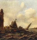 Goyen Jan van A View on the Maas near Dordrecht