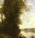 Corot Jean Baptiste Camille Le Batelier Quittant La Rive Avec Une Femme Et Une Femme
