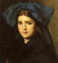 Henner Jean Jacques Portrait of a Young Girl with a Bow in Her Hair