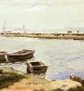 Bastida Joaquin Sorolla Y Three Boats By A Shore