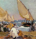 Sorolla y Bastida Joaquin Sailing Vessels on a Breezy Day Valencia