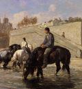 Veyrassat Jules Chevaux Abreuvant Dans La Seine Derriere Notre Dame