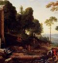 Hyre Laurent De La Landscape With Shepherds Watering Their Flocks