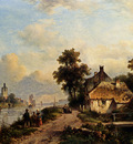 Kleijn Lodewijk Johannes A Summer Landscape With Figures Along A Waterway