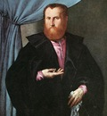 Lotto Lorenzo Portrait of a Man in Black Silk Cloak c1535
