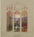 tiffany design for autumn landscape window
